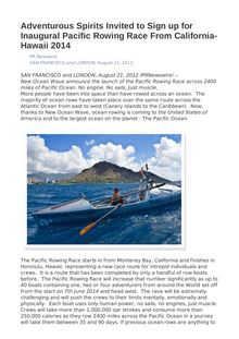 Adventurous Spirits Invited to Sign up for Inaugural Pacific Rowing Race From California-Hawaii 2014