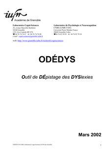 ODEDYS : Outil de DÉpistage des DYSlexies