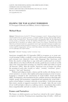 FRAMING THE WAR AGAINST TERRORISM Michael Ryan Frames and Narratives