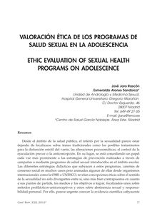 Valoración Ética de los Programas de Salud Sexual en la Adolescencia (Ethic Evaluation of Sexual Health Programs on Adolescence)
