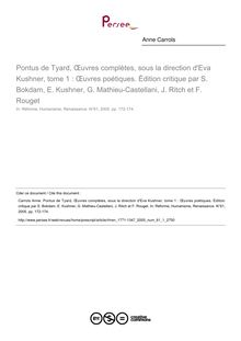 Oeuvres complêtes tome 1 - Eva Kushner