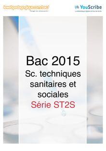 Corrigé - Bac 2015 - Sciences et techniques sanitaires et sociales - ST2S