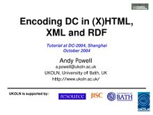 Encoding DC in \(X\)HTML, XML and RDF