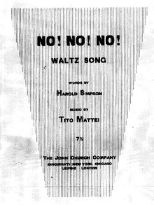 Partition complète, No, No, No!, Waltz Song, G major, Mattei, Tito