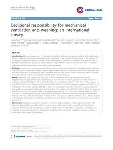 Decisional responsibility for mechanical ventilation and weaning: an international survey