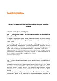 Baccalauréat SES 2016 - Série ES, spécialité Sciences politiques et sociales