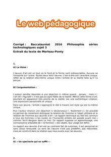 Baccalauréat Philosophie 2016 - Séries technologiques - Sujet 3