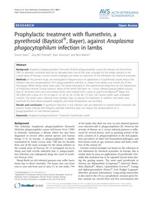 Prophylactic treatment with flumethrin, a pyrethroid (Bayticol®, Bayer), against Anaplasma phagocytophilum infection in lambs