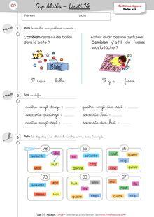 Mathématiques CP / CE1 – Cap Maths, période 5 (unités 11 à 15) - Unité 14 – CP Emilie Exercices CP unité 14