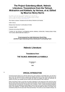 Hebraic Literature; Translations from the Talmud, Midrashim and - Kabbala
