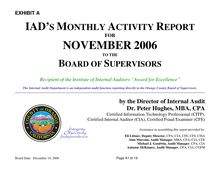 Internal Audit Department Status Report to the Board of Supervisors