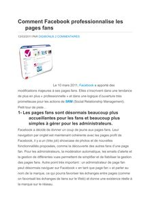 Comment Facebook professionnalise les pages fan