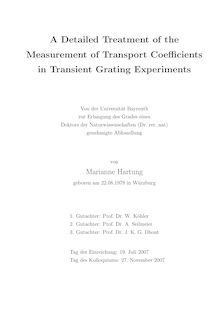 A detailed treatment of the measurement of transport coefficients in transient grating experiments [Elektronische Ressource] / von Marianne Hartung