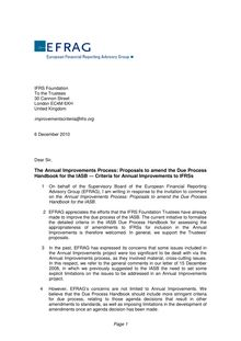 EFRAG Comment letter on the Due Process Handbook Criteria for Annual  Improvement