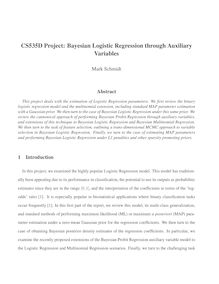 CS535D Project: Bayesian Logistic Regression through Auxiliary Variables