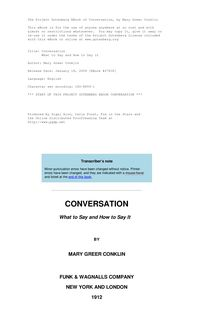 Conversation - What to Say and How to Say it