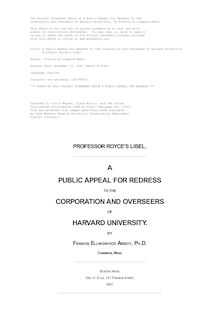 A Public Appeal for Redress to the Corporation and Overseers of Harvard University - Professor Royce