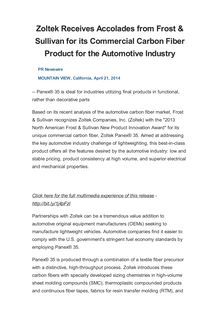 Zoltek Receives Accolades from Frost & Sullivan for its Commercial Carbon Fiber Product for the Automotive Industry
