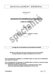 Baccalauréat SES - Série ES, spécialité
