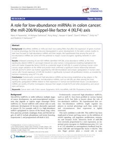 A role for low-abundance miRNAs in colon cancer: the miR-206/Krüppel-like factor 4 (KLF4) axis