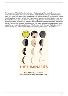 The Luminaries A Novel Man Booker Prize Book Review