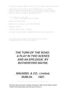 The Turn of the Road - A Play in Two Scenes and an Epilogue