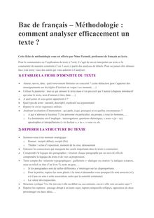 Bac 2014 Fiche methodo Analyser texte