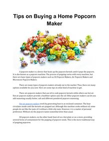 Tips on Buying a Home Popcorn Maker
