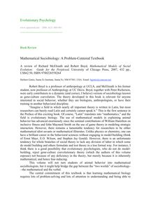 Mathematical sociobiology: A problem-centered textbook