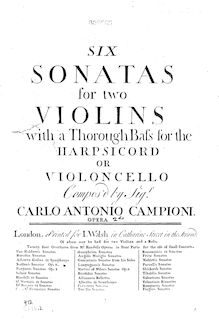 Partition violon 1, 6 Trio sonates, Six sonatas for two violins with a thorough bass for the harpsichord or violoncello