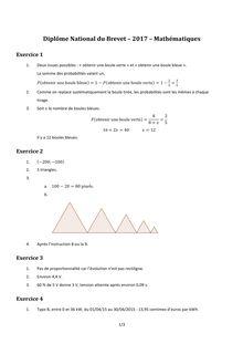Brevet 2017 Mathématiques corrigé