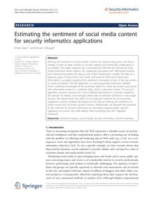 Estimating the sentiment of social media content for security informatics applications