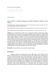 Age variation in mating strategies and mate preferences: beliefs versus reality