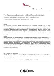 The Evolutionary Explanation of Total Factor Productivity Growth : Macro Measurement and Micro Process - article ; n°1 ; vol.80, pg 93-114