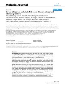 Severe falciparum malaria in Gabonese children: clinical and laboratory features