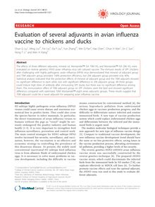 Evaluation of several adjuvants in avian influenza vaccine to chickens and ducks
