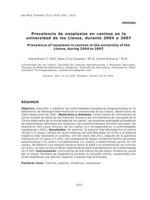 Prevalencia de neoplasias en caninos en la universidad de los Llanos, durante 2004 a 2007 (Prevalence of neoplasm in canines in the university of the Llanos, during 2004 to 2007)