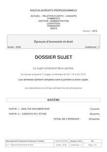 Baccalauréat Économie-Droit 2016 - Série professionnelles