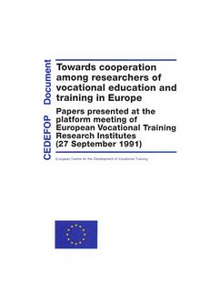 Towards cooperation among researchers of vocational education and training in Europe