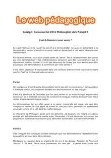 Baccalauréat Philosophie 2016 - Série S - Sujet 2