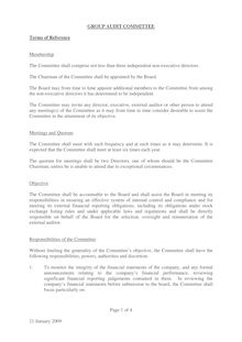 Group Audit Committee Terms of reference Jan 08