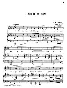 Partition No.1: Rose Guerdon, 3 Love chansons, Chadwick, George Whitefield
