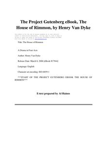 The House of Rimmon - A Drama in Four Acts