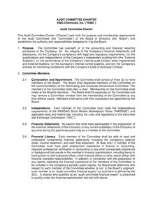 Charter - Audit Committee adopted 081908