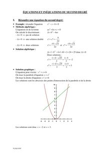 Equations et inéquations du second degré
