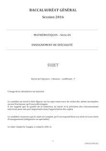 Baccalauréat Mathématiques 2016 - Série ES (spécialité)