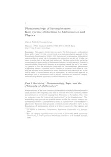 1Phenomenology of Incompleteness: from Formal Deductions to Mathematics and Physics