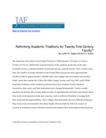 Rethinking Academic Traditions for Twenty-First-Century Faculty*
