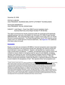 FF-AR-09-052 - Fiscal Year 2008 Financial Installation Audit -  Business Mail Entry Units