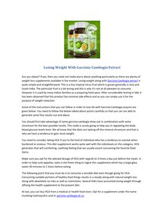 Losing Weight With Garcinia Cambogia Extract